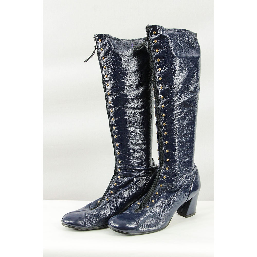 go go boots vintage knee high boots 60s navy by