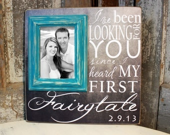 Personalized Picture Frame Wedding Gift, Anniversary Gift, Wedding Frame Family Last Name Sign on 16x16 with 5x7 Frame
