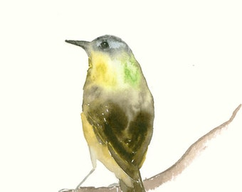 Original Watercolor Painting Green and Brown Songbird