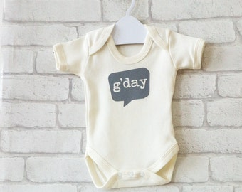 G'DAY hello baby bodysuit gift, cool grey print on cream organic cotton, speech bubble, cute new baby gift, baby shower gift