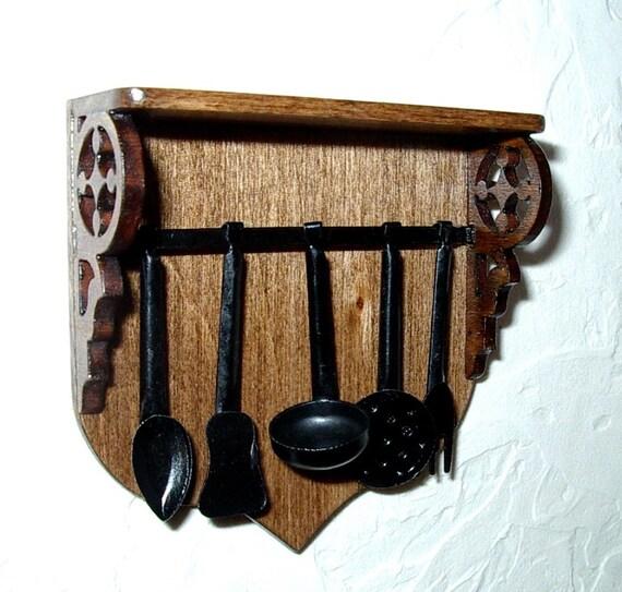 Kitchen utensil rack black wrought iron medieval dollhouse - Wrought iron silverware ...