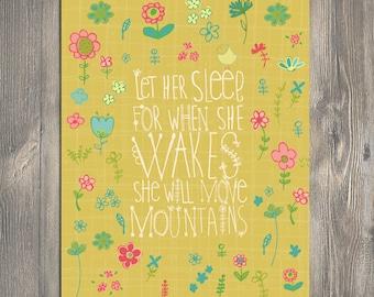 Baby Gift, Nursery art, Let Her Sleep, art print - New Baby Gift
