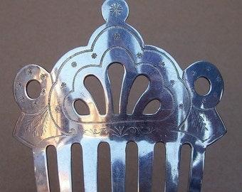 Antique Hair Comb Victorian Engraved Steel Hair Accessory Hair Pin Hair Pick Hair Slide Hair Jewelry Hair Ornament Headdress