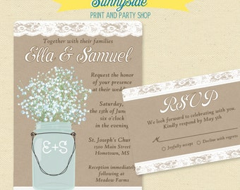 Mason jar wedding invitations | Etsy