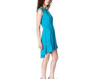Pleated Hi-Lo Knit Dress