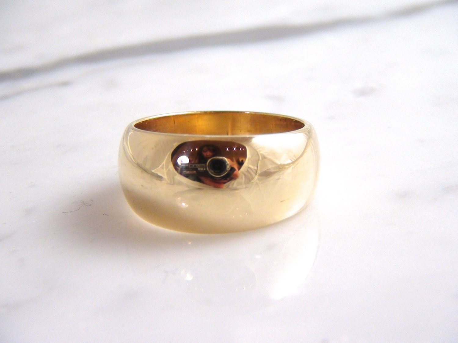 Vintage 14K Yellow Gold ArtCarved Wedding Band Ring By BarakaGems