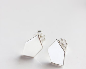 Geometric stud earrings, recycled sterling silver, modern, minimal jewelry, eco friendly - The Geometry of the Heart Stud Earrings