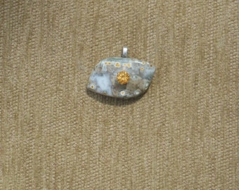 Variegated Jasper with yellow topaz pendant with sterling silver chain