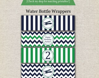 Airplane Water Bottle Labels - navy and green   Airplane Water Bottle Wrappers   Airplane Drink Labels   Airplane Party Printables