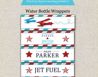 Airplane Water Bottle Labels - red and aqua | Airplane Water Bottle Wrappers | Airplane Drink Labels | Airplane Party Printables