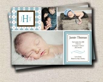 Argyle Boy Birth Announcement Card in 4 x 6 or 5 x 7 sizes, preppy, monogram, digital, printable