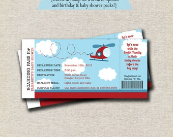Helicopter Ticket Invitation baby shower birthday invite boarding pass ticket digital printable