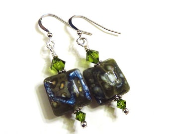 Green Square Lampwork Earrings With Olive Green Swarovski Crystals, Green Earrings, Green Lampwork Earrings, Lampwork Jewelry