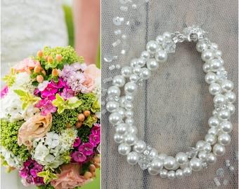 Twisted Pearl Bracelet, Bridal Jewelry, Pearl Wedding Bracelet, Pearl Bride Bracelet, Wedding Jewelry, Bridal Bracelet, Bride Pearl Bracelet