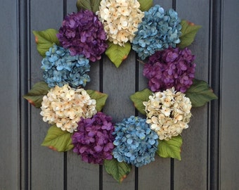 Hydrangea Spring Wreath Summer Wreath Grapevine Door Wreath Turquoise Purple Cream Hydrangea Floral Door Decoration Indoor Outdoor Decor