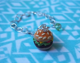 Hamburger Bracelet Silver Bracelet ( polymer clay food bracelet miniature hamburger mini food jewelry fast food charm barcelet )