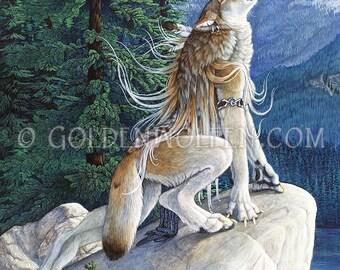 Howling Female Anthro Wolf Werewolf Print