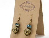 Light Aqua glass bead earrings with filigree - special holiday price!  gifts under 10