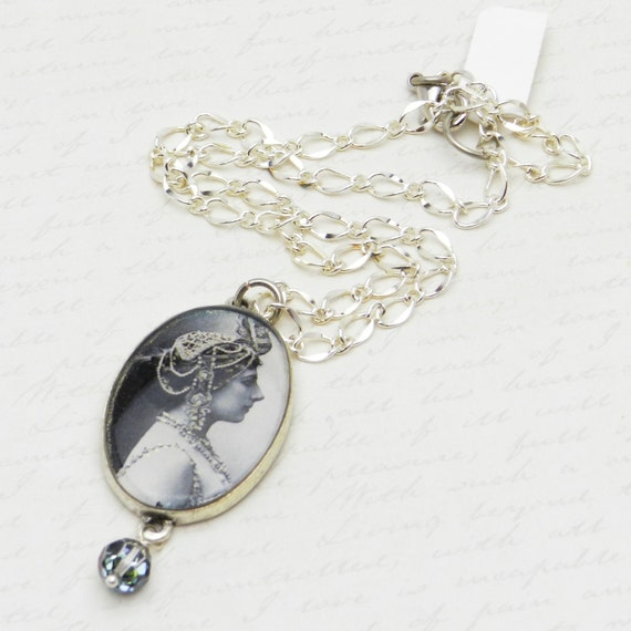 Romantic Mata Hari Necklace Cameo Pendant with Swarovski Crystal bead drop JF1091