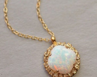 Australian Opal Gemstone Necklace,Halo Rhinestone Necklace,White Opal Swarovski Necklace,Cushion Cut Opal,Gold Filled,Sterling,Birthstone