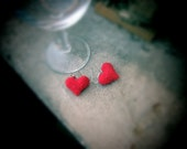 Red Hearts Silver Earrings. Crochet Jewellry Fiber Art. Miniature Hearts Valentines. Handmade Cotton Еmbossed Hearts by dodofit on Etsy