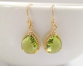 Gold Peridot Earrings - Apple Green Bridesmaids Earrings August Birthstone Wedding Jewelry