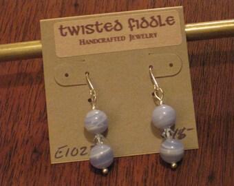 Blue Lace Agate Earrings (E1023)