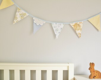 Fabric Bunting in blue, cream and lace for childrens room or birthday party, kids bedroom or nursery, vintage linen, country wedding, eco
