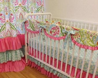 Girl Crib Bedding- Kumari Garden BUMPERLESS Baby Bedding- MADE to ORDER- Kumari Garden Girl Bedding