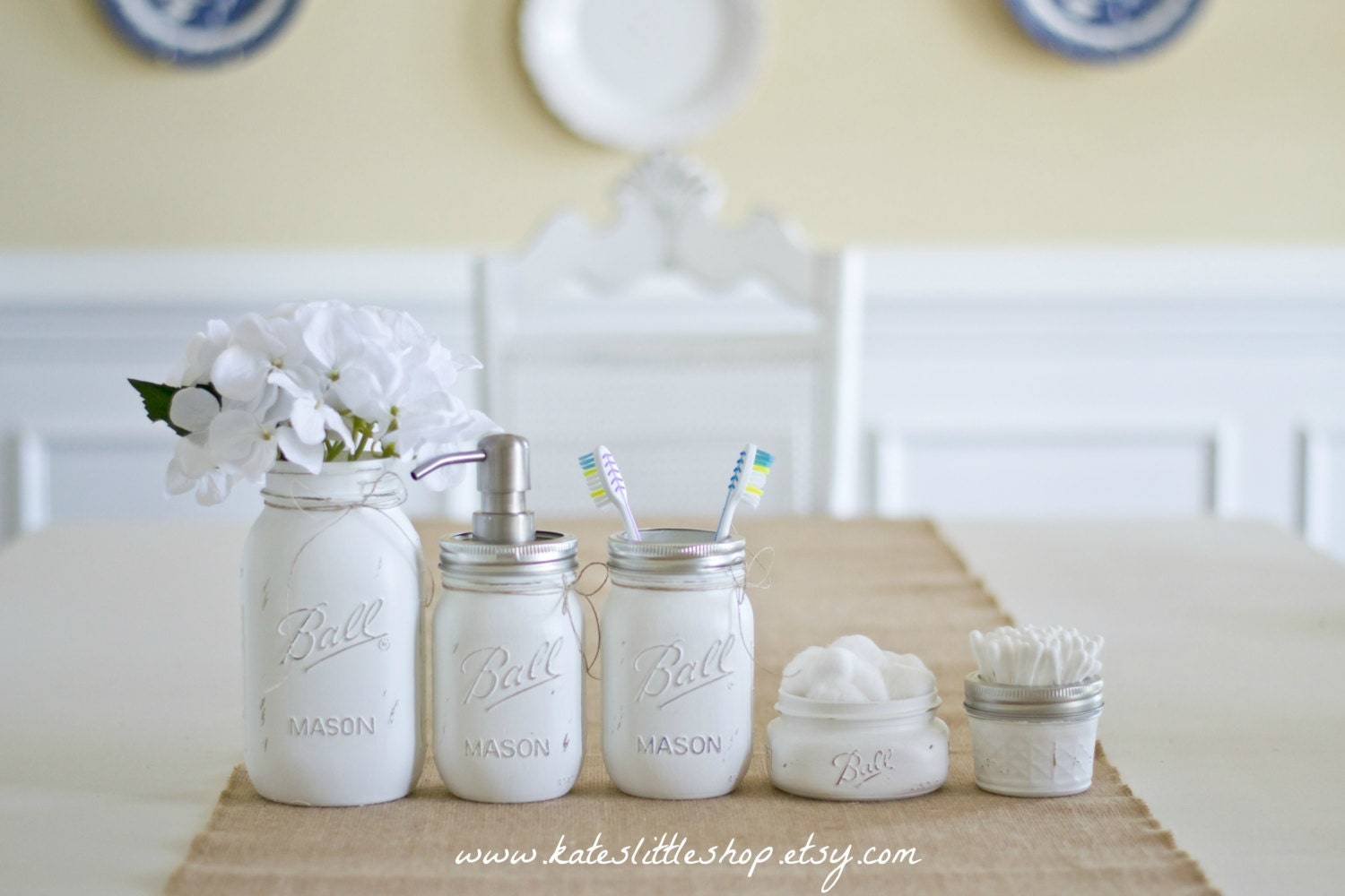 Mason jar bathroom set white ball mason jars rustic home for Small bathroom jars