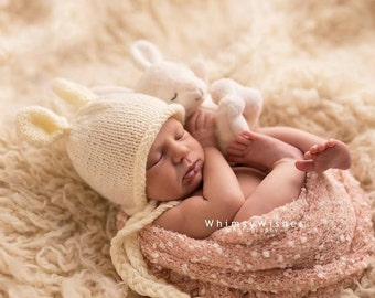 Newborn photo prop, bunny newborn/ baby hat, photography props, newborn boy, newborn girl, newborn hat, knits hat