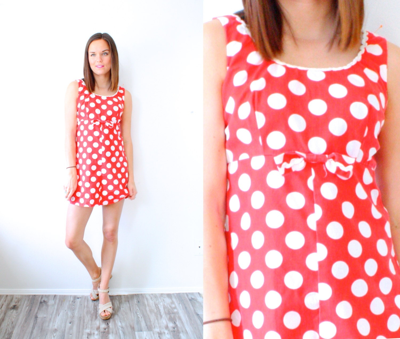 Vintage 1950u0026#39;s red polka dot mini romper // jumper dress