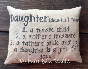 daughter definition fathers pride and joy mothers treasure feed sack decorative pillow