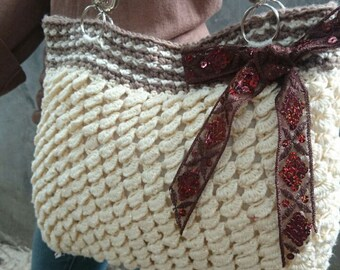 INSTANT DOWNLOAD Scales Texture Purse with Bow  - Crochet Pattern
