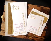 """Glitter Save the Dates with Gold Glitter Envelope Liners, Modern Gold Save the Date, Gold, Peach, Ivory - """"Gold & Glitter"""" Save the Dates"""