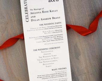 Modern, Simple Wedding Ceremony Programs, Red, Black and White Wedding - Urban Elegance - Deposit
