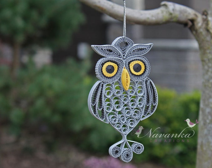 Paper Quilling Owl in a gift box for Christmas tree  , Gray Paper Quilled Owl, Grey and Yellow Owl in a box, Owl Keepsake, Babyshower