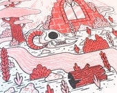 Yorkshire Ruins - Riso Mini Print