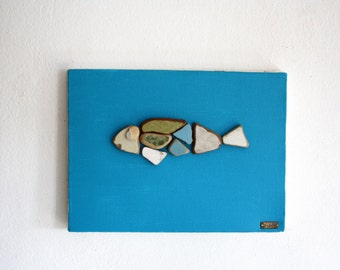 Fish artwork,canvas art,collage art,mixed media,pebbles collage artwork,fish collage,modern home decor,beach art,pebbles art,