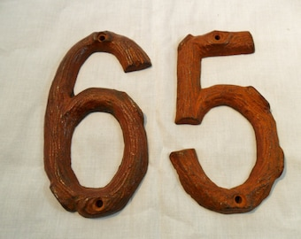 "Vintage 5"" inch Rusty Solid Metal Branch Industrial Numbers 5 & 6 Retro Lot of 2 Shabby Chic Home Decor Rustic"