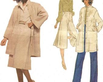 1980s Nina Ricci Womens 7/8th Length Coat, Blouse, Culottes and Pants Vogue Paris Original Sewing Pattern 1838 Size 16 Bust 38 FF