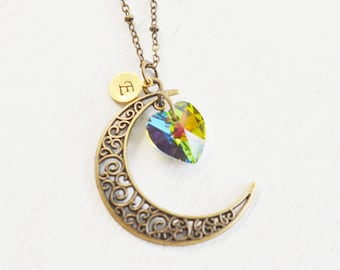 crescent moon necklace,astrology,rustic crescent moon jewelry,swarovski heart,love you to the moon,bridesmaid,long necklace,gift for her