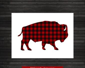 Red Buffalo Check Printable, Art Print, Buffalo Check