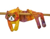 Flat Cat, Hot Cold Rice Bag, Microwave Neck Wrap, Rice Heating Pad, Hot Cold Therapy Pack, Yellow Orange Purple