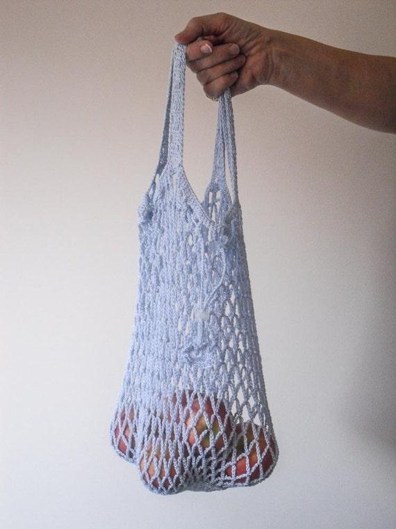 Crochet Cotton Bag : Crochet Cotton Fold Away String Bag with Drawstring Fastener, Market ...