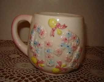 Vintage 1960s 60s Ceramic Baby Girl Mug / Planter / Nursery Decor / Pink / Blue / Flowers