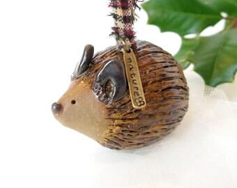 Hedgehog Ornament / Sculpted Pottery Woodland Christmas Ornament / Ceramic Porcupine / Animal Ornament  / USA Artisan Handmade