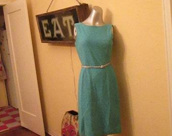 Vintage Silver Sparkle Dress / Turquoise Metallic 1960 Dress / Elegant Classy Dress / Size 8 10