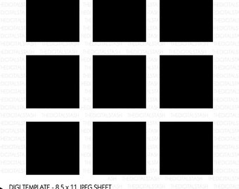 Digital Photo or Art Template - 12 - 2 Inch Squares - INSTANT DOWNLOAD - for Photographers, Crafters, Jewelers