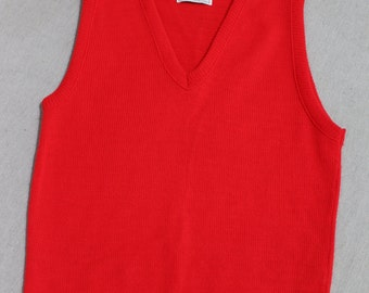 Kid stuff...vintage 1970's -Barrel- Boy's V neck sweater vest. Bright Red - Acrylic.  Size '16' - Men's Extra Small